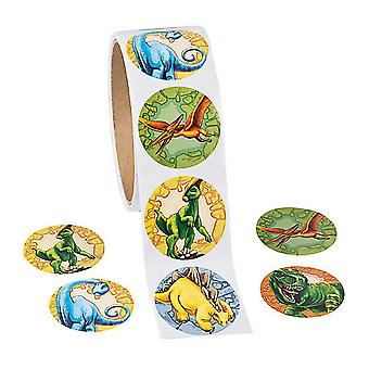 Rouleau de 100 autocollants de dinosaures pour enfants artisanat