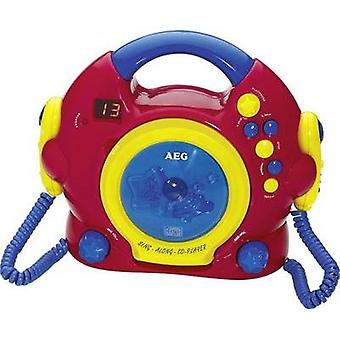 Kids CD player AEG CDK 4229 Kids Line CD incl. karaoke function, incl. microphone Red, Multi-coloured