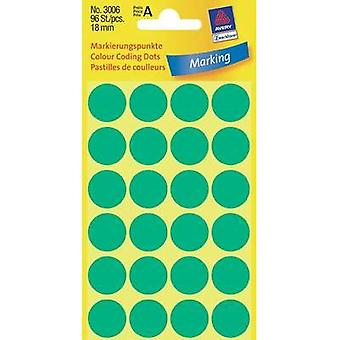 Avery-Zweckform 3006 Labels (hand writable) Ø 18 mm Paper Green 96 pc(s) Permanent Sticky dots