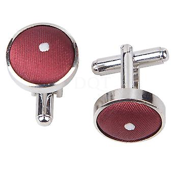 Burgundy Pin Dot Cufflinks