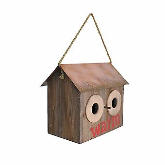 Rustic 'Warm' Wooden Bird House with Metal Roof & Rope Hanger