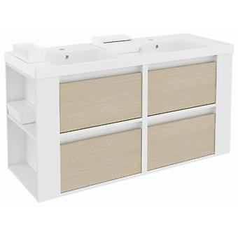 Bath+ 4 Drawers Cabinet Basin Resin 2 Breast Oak-White-White 120