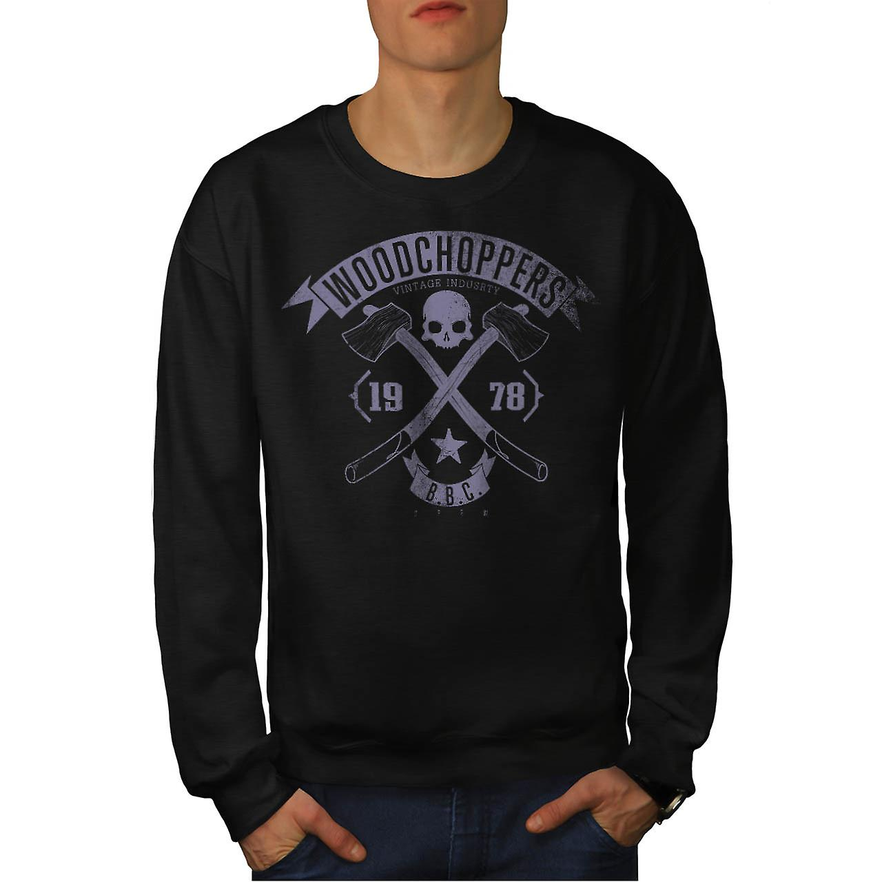 Wood Chopper Company Vintage Men Black Sweatshirt | Wellcoda
