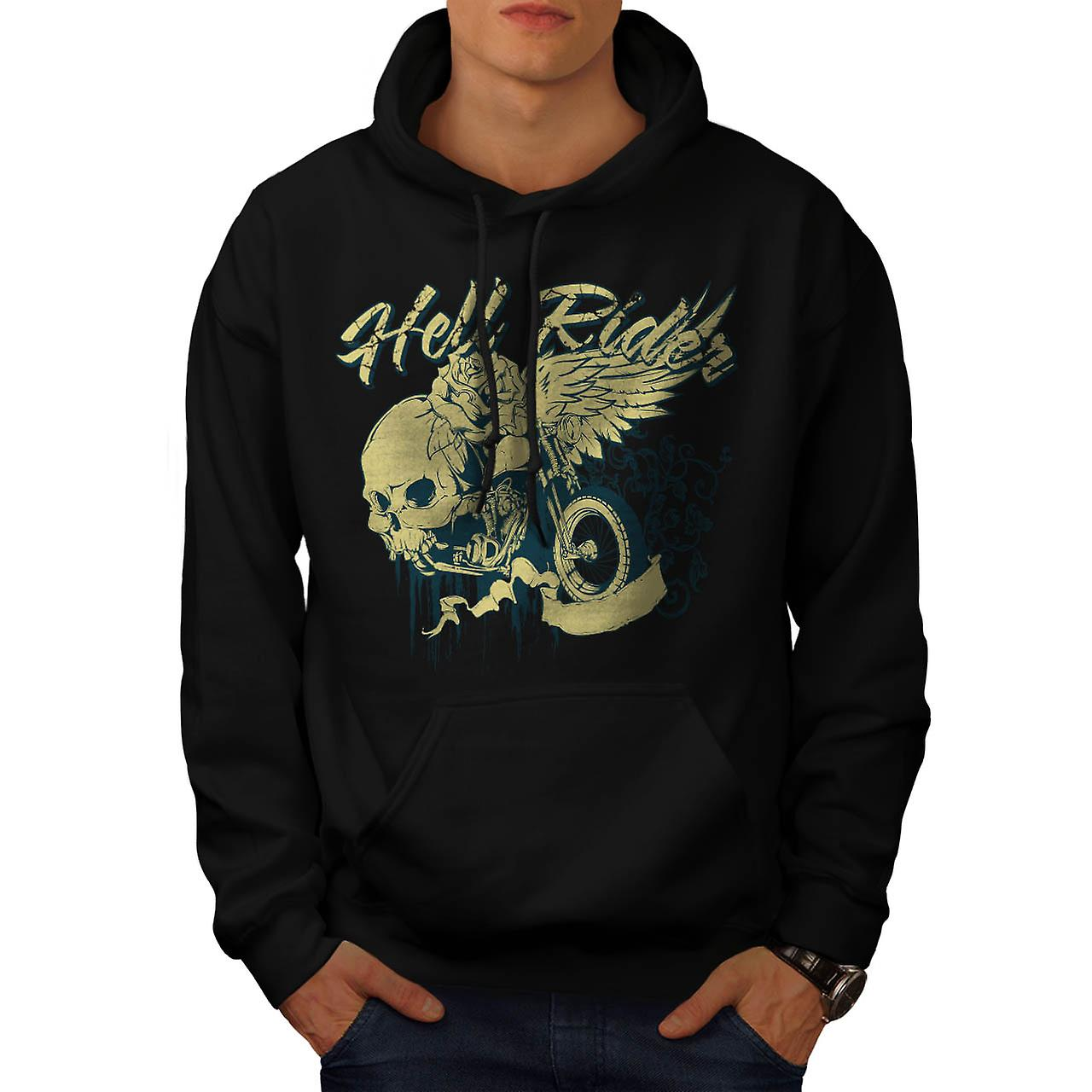 Hell Rider Biker Life Rose Skull Men Black Hoodie | Wellcoda