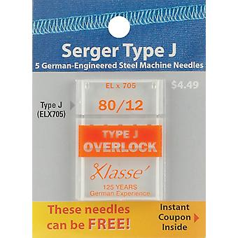 Klasse Serger Machine Needles-Size 12/80 ELx705 5/Pkg A5170-8012J