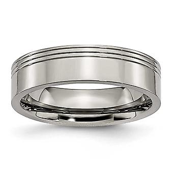 Titanium Engravable rillet 6mm poleret Band Ring - ringstørrelse: 6-13