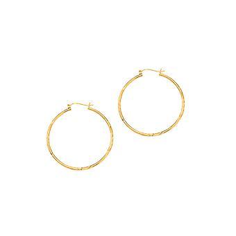 14 k Gelb Gold glänzend 2.0x45mm Phantasie Sparkle-Cut Rundrohr Creolen mit klappbaren Verschluss