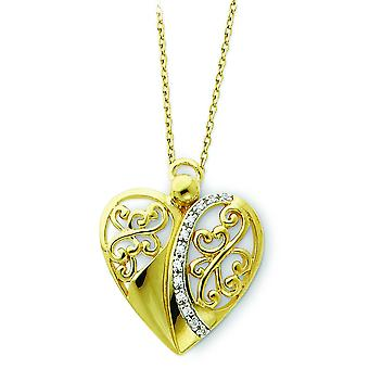 Sterling Silver Polished Gift Boxed Spring Ring Gold-Flashed Cubic Zirconia Angel Necklace - 18 Inch
