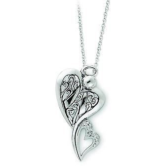 Sterling Silver Polished Gift Boxed Spring Ring Rhodium-plated Antiqued Cubic Zirconia Angel Necklace - 18 Inch