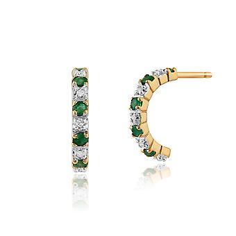 Gemondo 9ct amarelo ouro 0,20 ct Esmeralda & 4pt meia argola estilo brincos de diamante