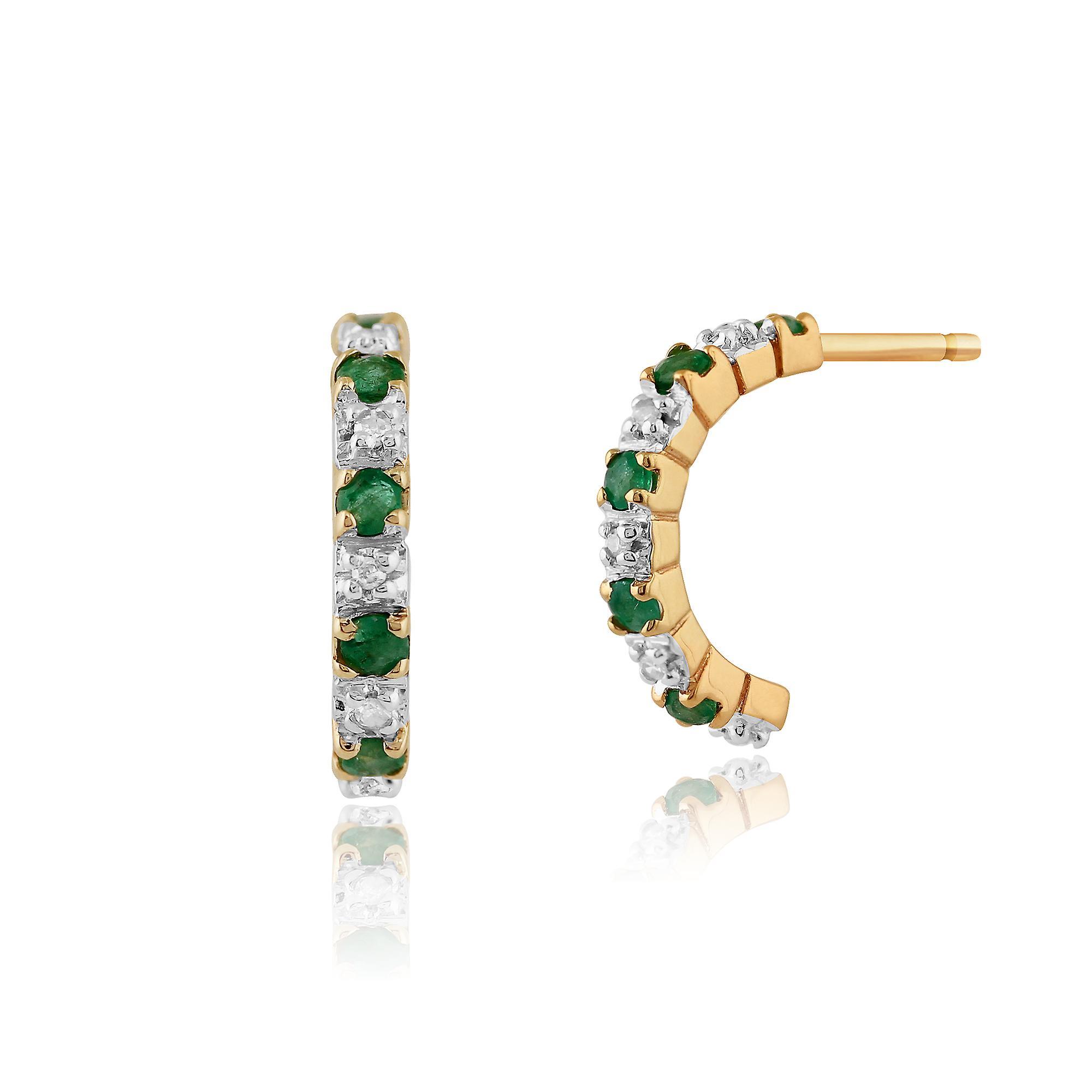 Gemondo 9ct ct 0,20 or jaune émeraude & 4pt diamant demi Creoles Style