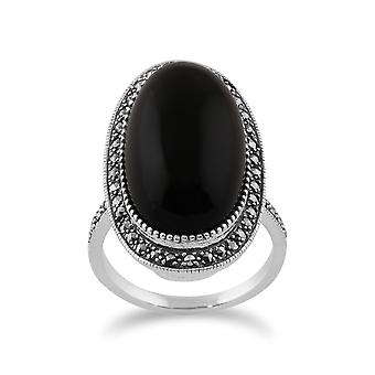 Gemondo Sterling Silver Black Onyx & Marcasite Art Deco Oval Cocktail Style Ring
