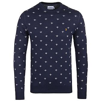Farah Coppice True Navy Fairisle Crew Neck Sweater