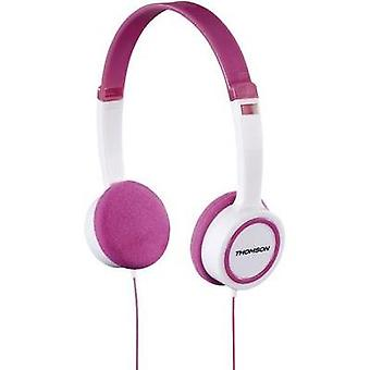 Children Headphone Thomson HED1105P On-ear Volume limiter, Light-weight headband White, Pink