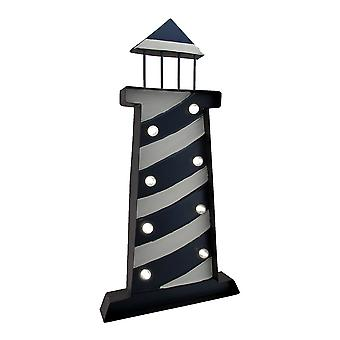 Hand Painted LED Lighted Metal Lighthouse Wall Hanging