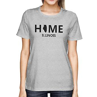 Home IL State Grey Women's T-Shirt US Illinois Hometown Cotton Tee