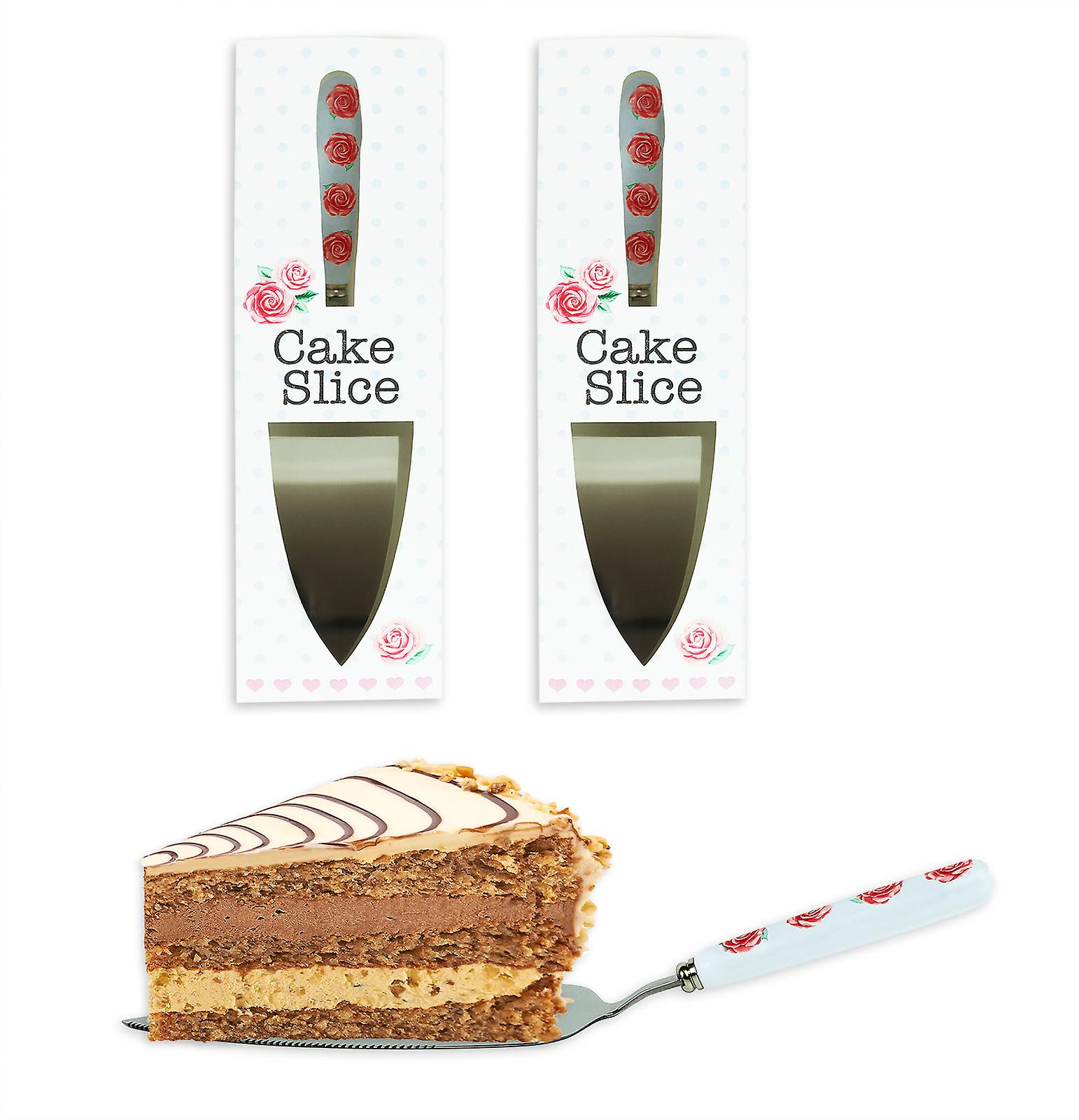 2 Pack Cake Slice Afternoon Tea Party Wedding Stainless Steel Ceramic Handle