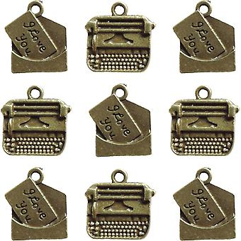 Ken Oliver Vintage Embellishments-Love Note & Typewriter Charms KO3386
