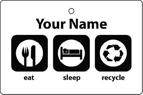 Personalised Eat Sleep Recycle Car Air Freshener