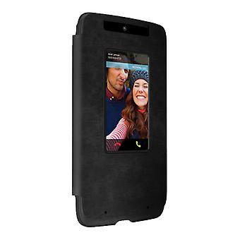 Motorola Droid Turbo Flip Case (XT1254) - Black Leather/Gray Suede
