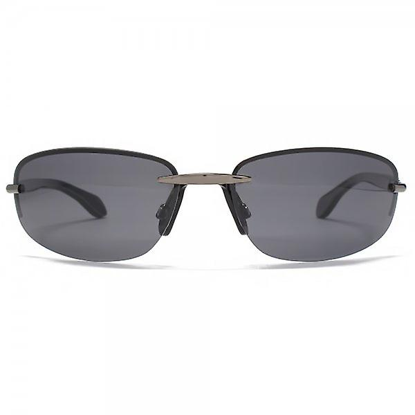 Freedom Polarised Oval Rimless Sunglasses Gunmetal