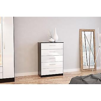 Birlea Lynx 5 Drawer Chest Black & White