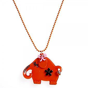 Camille Orange elefant Design halskjede