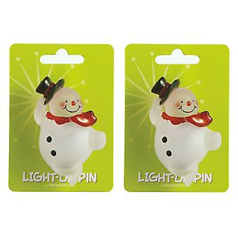 Lights Up Snowman Winter Fun Pins Set of 2