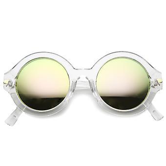 Womens ronde lunettes de soleil UV400 protection lentille miroir