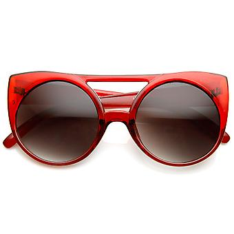 Womens Oversized Round Circle Double Bridge Cateye Sunglasses