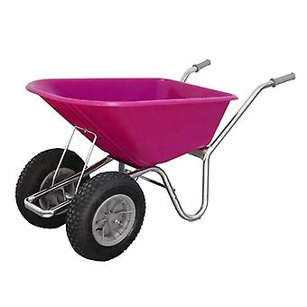 County Cruiser 100L Pink Duo Garden Wheelbarrow
