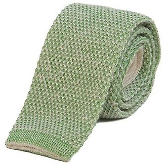 40 Colori Double Threaded Wool and Cotton Knitted Tie - Cream/Green