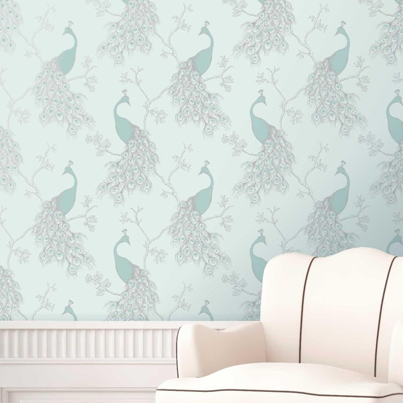 Fine Decor Empress Peacock Wallpaper Duck Egg Blue Teal