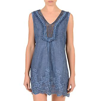 Iconique IC7-071 Women's Jeans Blue Cotton Beach Dress