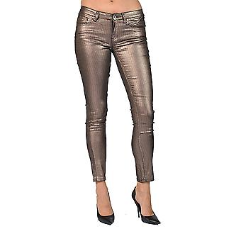 Women's Solid Coated Shiny Brown Skinny Junior Size Jeans