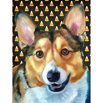 Carolines Treasures  LH9553CHF Corgi Candy Corn Halloween Flag Canvas House Size
