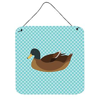 Khaki Campbell Duck Blue Check Wall or Door Hanging Prints