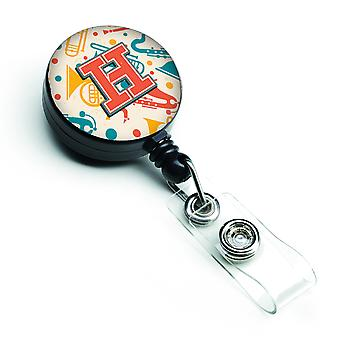 Letter H Retro Teal Orange Musical Instruments Initial Retractable Badge Reel