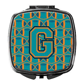Letter G Football Aqua, Orange and Marine Blue Compact Mirror