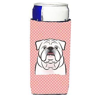 Checkerboard Pink White English Bulldog  Ultra Beverage Insulators for slim cans