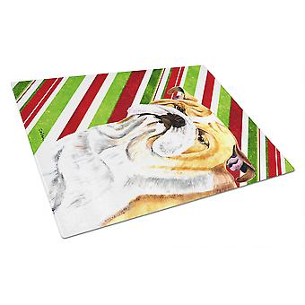 Bulldog English Candy Cane Holiday Christmas Glass Cutting Board Large