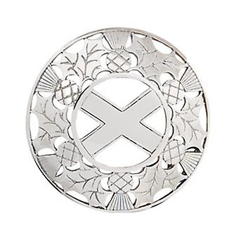 Thistle Plaid Brooch with Saltire Centre (PB02 CB)