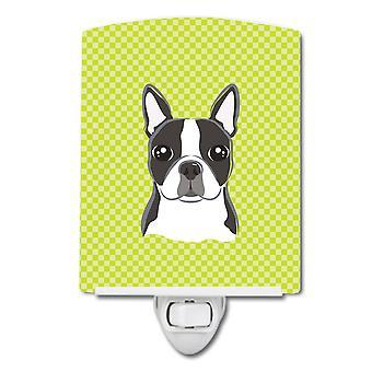 Checkerboard Lime Green Boston Terrier Ceramic Night Light