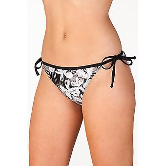 Camille Black Floral Print Tie Side Womens Bikini Briefs