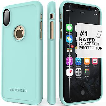 SaharaCase iPhone X Aqua Case, dBulk Protective Kit Bundle with ZeroDamage Tempered Glass