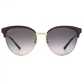 Gucci Metal Cateye Sunglasses In Burgundy Gold