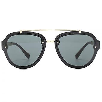 Versace Medusa Temple Pilot Sunglasses In Black