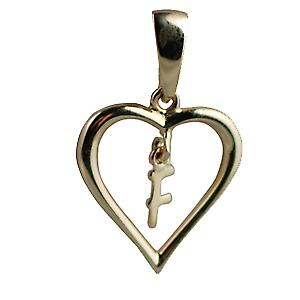 9ct Yellow Gold 18x18mm heart with a hanging Initial F