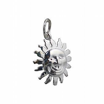 Silber 15mm Gesicht der Sonne Lächeln, Anhänger oder Charm