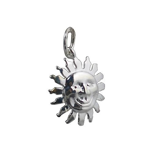 Silver 15mm face of the sun smile pendant or charm